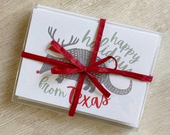 Texas Armadillo Holiday Boxed Card Set
