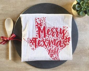 Merry Texmas Y'all Christmas Flour Sack Kitchen Dish Towel