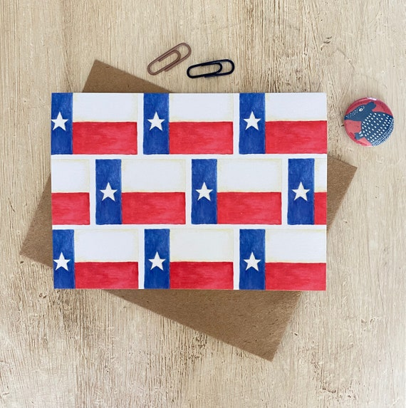 Watercolor Texas Flags Greeting Card