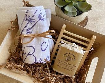 Lavender or Honeybee Tea Towel & Goat's Milk Soap Gift Basket