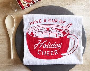 Cup of Holiday Cheer Flour Sack Tea Towel