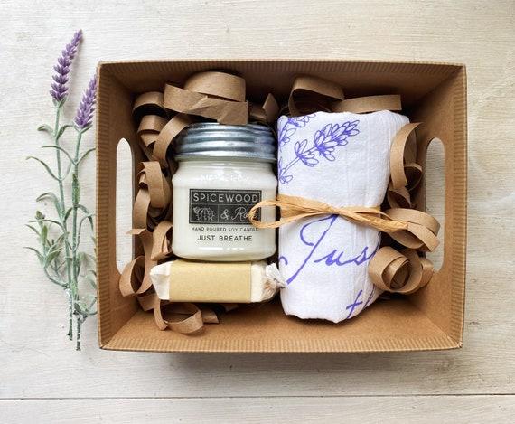 Lavender  Tea Towel, Bath Bar & Candle Gift Basket