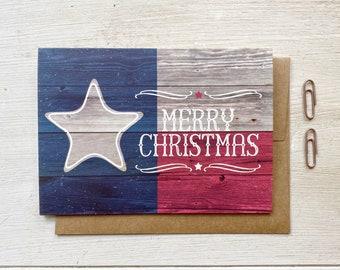 Woodgrain Texas Flag Merry Christmas Card