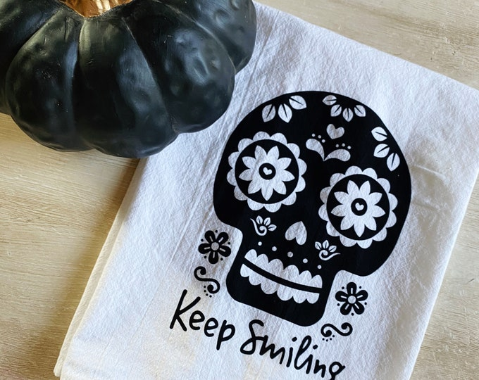 Featured listing image: Sugar Skull Flour Sack Kitchen Towel