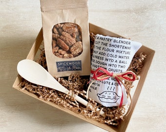 Texas Sheet Cake or Apple Pie Flour Sack Towel and Pecans Gift Basket