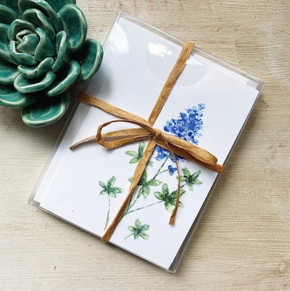 Texas Bluebonnet & Cactus Watercolor Greeting Card Box Set