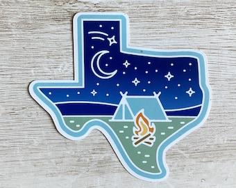 Texas Stars at Night Camping Vinyl Sticker