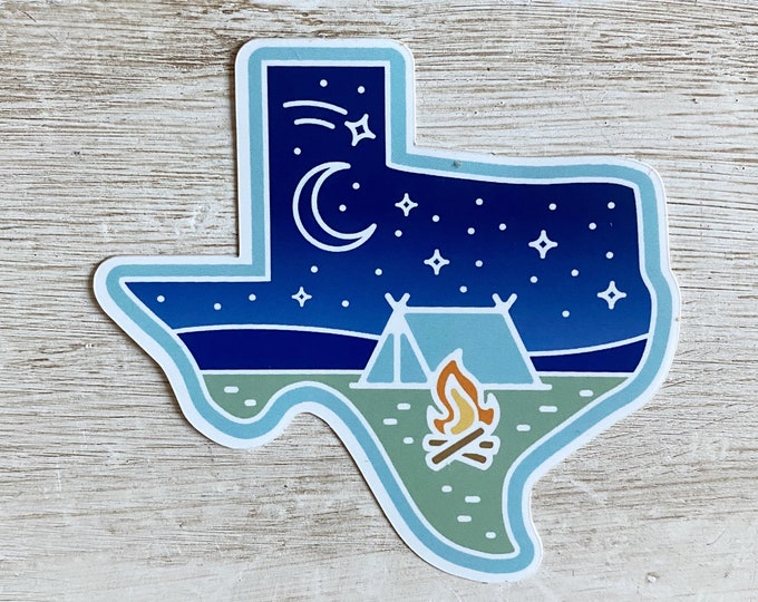 Featured listing image: Texas Stars at Night Camping Vinyl Sticker
