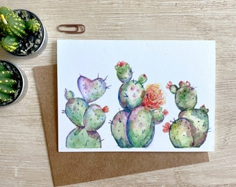 Blooming Pear Cactus Greeting Card