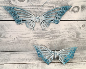 Solid Brass Butterflies, Set of 2, Butterfly Wall Hangings Fairy Garden Bugs, Hand Painted Blue & White Distressed Look, Item #250807032