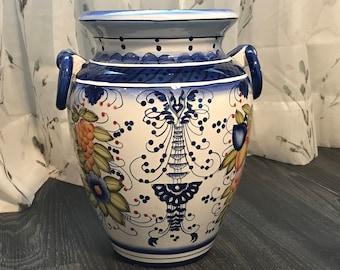 Fine Art Ceramic Pottery, Hand Painted Large Vase, Vintage Tuscan Home Decor, Modern Italian European Decorative Vases, Item #501979420