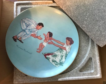 """Norman Rockwell """"Baby's First Step"""" Number 4967 Decorative Wall Plate 1977, Ridgewood Fine China, Made in Japan, Item #SUE17169"""