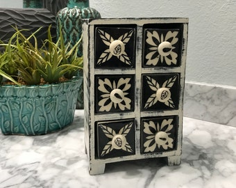 Apothecary Spice Cabinet 6 Ceramic Drawer Herb Storage Box Black & White, Unique Jewelry Box Shabby Chick Style, Item #606744679
