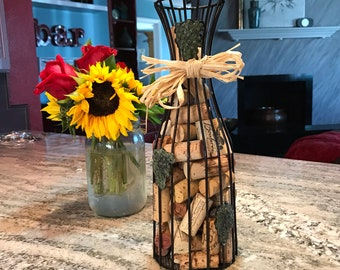 Vintage Winery Corks with Wine Cork Holder Container Shaped Wine Decanter Decorative Black Wired Cage,  Item #613212223