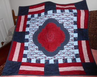 Quilted Patriotic Wall Hanging with Embroidered Center Medallion