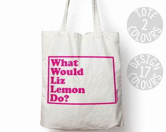 Liz Lemon 30 Rock eco-friendly cotton tote bag, shoulder bag, quirky gift ideas for woman, classic millennial TV program, Tina Fey, blergh