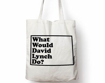 David Lynch reusable ethical strong canvas tote bag, shoulder bag, gift for her, popular 90's cult film, movie lover, Hollywood, Twin Peaks