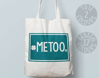 CHARITY Me too #metoo canvas tote bag, eco bag, personalized gift for activist, nasty woman, protest rally, resistance, she persisted
