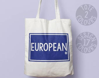 European cotton tote bag, gift ideas for women, feminist, brexit protest, wanderlust european feminist, asylum seeker, womens rights, rights
