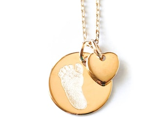 Printed by hand, foot, digital, personalized necklace Kiss