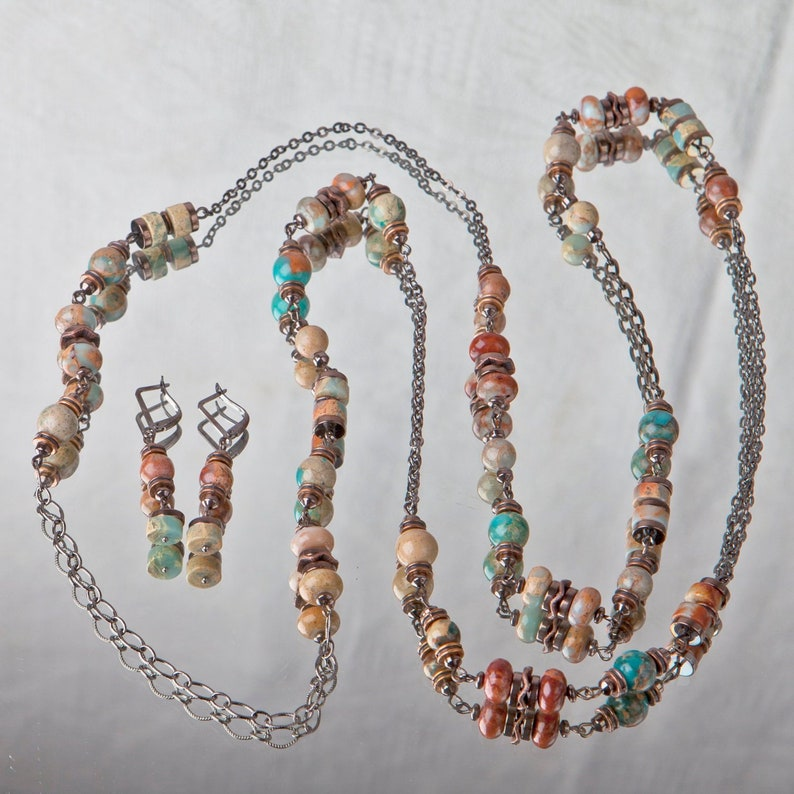Variscite bead multicolor necklace and earrings Jewelry transformer beaded chains boho gypsy bracelet Easter gift for redhead Witch jewelry