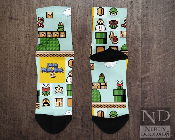 Retro Super Mario Bros Piranha Plant Crew Socks