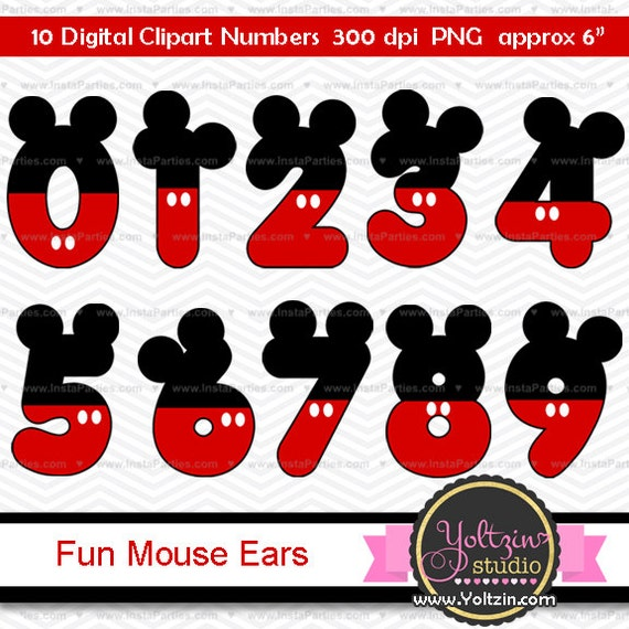 mickey mouse clipart numbers clip art digital png images etsy rh etsy com Mickey Mouse Ears Outline Mickey Mouse Outline Clip Art