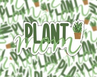 Plant Mom Sticker | Green Snake Plant | Plant Lover | Vinyl Matte Weatherproof Decal
