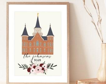 Provo City Center Temple Custom Print | LDS Temple | Customizable Family/Wedding Print | Digital Art