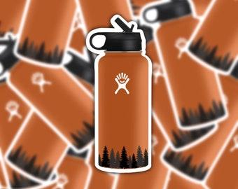 Waterbottle Sticker | Orange Waterbottle | Boho Stickers | Forest Landscape | Vinyl Matte Weatherproof Decal