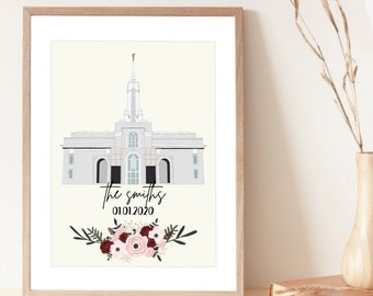 Mt. Timpanogos Temple Custom Print | LDS Temple | Customizable Family/Wedding Print | Digital Art