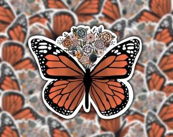 Colorful Bouquet Butterfly Sticker | Orange Monarch Butterfly | Rainbow Bouquet | Boho Sticker | Vinyl Matte Weatherproof Decal
