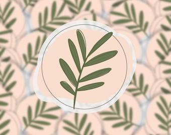 Simple Leaf Circle Sticker | Simple Botanical Set | Vinyl Decal | Boho Flower Sticker | Matte Transparent Weatherproof Decal