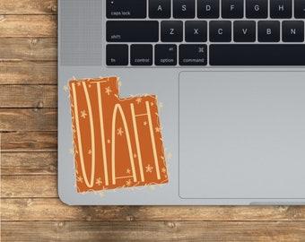 Utah State Sticker | State Stickers | Utah Orange State | U.S. Map | Boho Floral State Sticker | Vinyl Transparent Weatherproof Decal
