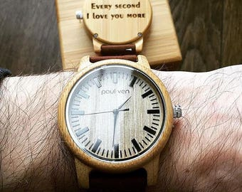 Engraved Wood Watch by Paul Ven, christmas gift for husband, farther, son, personalised watch, anniversary gift