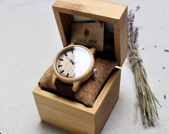 Engraved wooden watch, man wooden watch, wood watch, personalised wood watch, anniversary gift, Christmas gift, man wood watch, paul ven