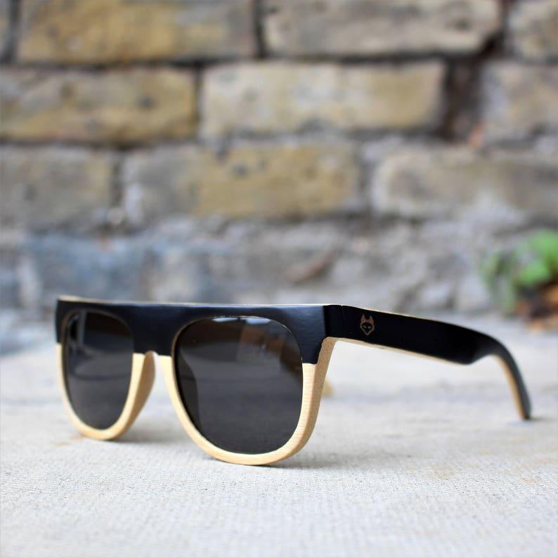 fba052675de Wood Sunglasses Black Bamboo wooden Flat Top sunglasses.