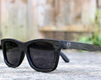Paul Ven Fox Black Bamboo wooden sunglasses. Polarized Wood sunglasses, men women sunglasses FREE EU shipping. Handmade sunglasses