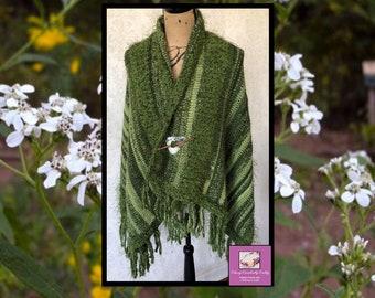 Crochet Green Shawl, Bohemian Shawl, Crochet Poncho, Boho Crochet Shawl, Knit Wrap, Freeform Crochet, Lace Shawl, Boho Chic Wrap, Capelet