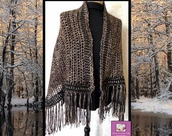Crochet Black Shawl, Boho Gypsy Shawl, Crochet Poncho, Boho Crochet Shawl, Knit Wrap, Freeform Crochet, Lace Shawl, Boho Chic Wrap