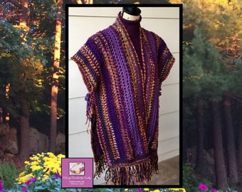 Handmade Shawl, Festival Shawl, Gypsy Shawl, Wool Poncho, Gift for Her, Crochet Shawl, Knit Shawl, Boho Shawl, Freeform Crochet, Wool Wrap