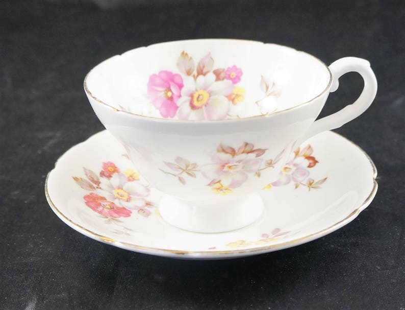 Stanley Fine Bone Cup and Saucer FLOWERS