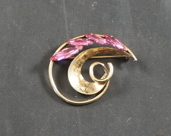 RAINBOW Brooch Gold Filled with Pink Rhinestones