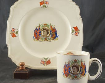 Alfred Meakin Plate & Mug to Mark 1953 Coronation of QUEEN ELIZABETH II