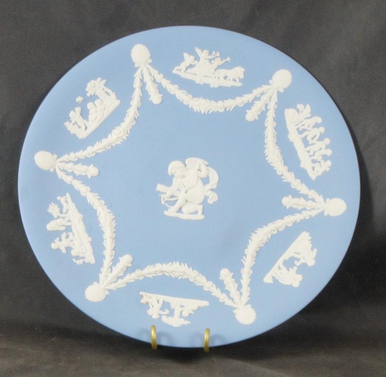 WEDGWOOD Blue Jasperware CUPID Cake Plate
