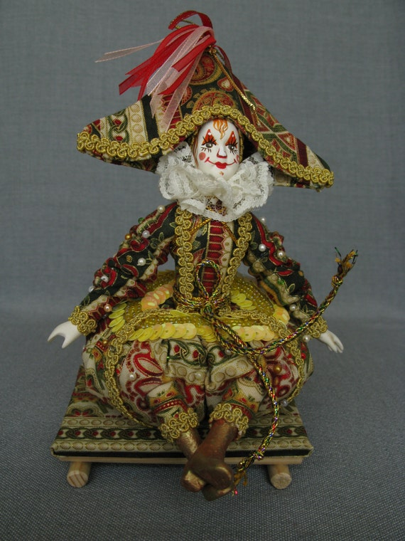 Clown Puppe Handgemacht Mit Handbemalten Porzellan Gesicht