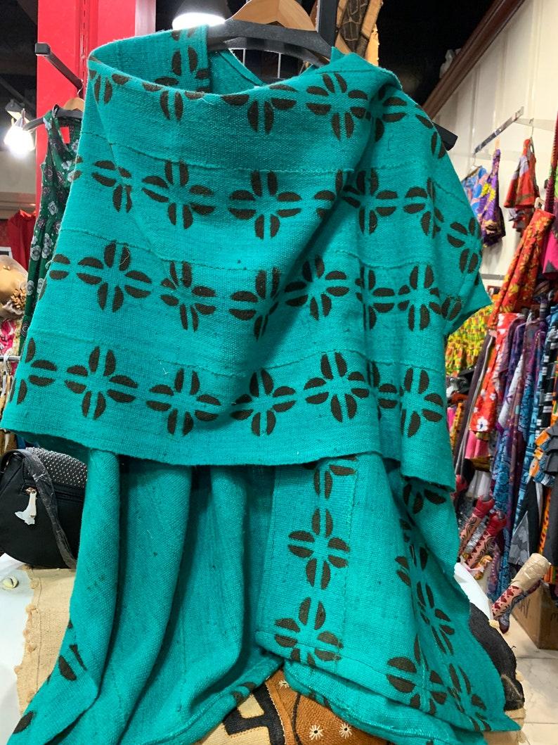 Teal mudcloth shawl