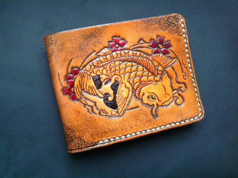 537a177e69d8 Hand-tooled leatherwallet with Japanese Carp of Luck pattern, tooled  wallet, hand-carved wallet, carved wallet, mens leather wallet