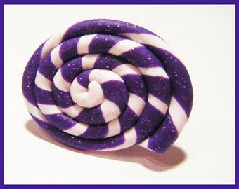 Purple candy lollipop treats kawaii fimo polymer clay ring