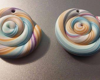 2 beads polymer clay lollipop candy treats jewels original